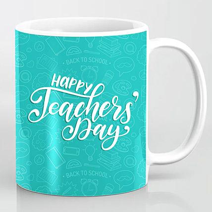 Happy Teachers Day Blue Mug: Personalised Teachers Day Gifts