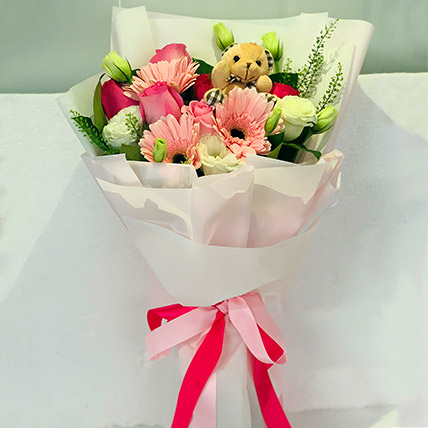 Pastel Flower Bouquet With Teddy: Graduation Flower Bouquets