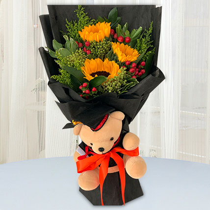 Vibrant Flower Bouquet With Graduation Teddy: Graduation Presents Singapore