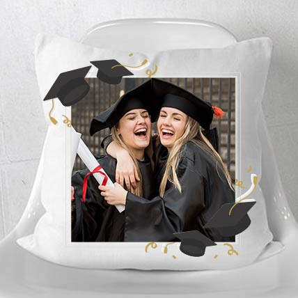 Graduation Special White Personalised Cushion: Graduation Presents Singapore