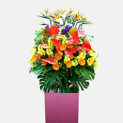Blissful Flower Arrangement: Grand Opening Flower Stand Singapore