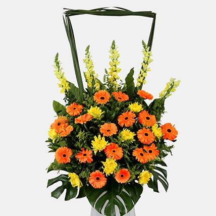Yellow and Orange Floral Arrangement: Grand Opening Flower Stand Singapore