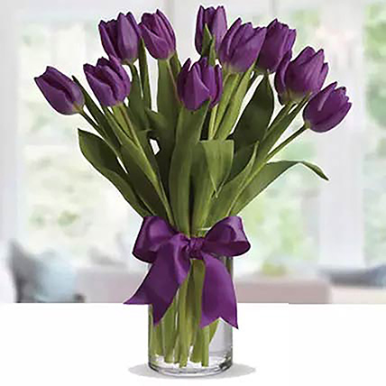 Purple Tulip Arrangement: Table Flower Arrangement