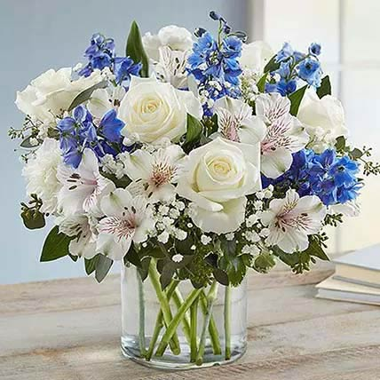 Blue And White Floral Bunch In Glass Vase: Birthday Flowers