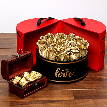 Grand Box Of Golden Roses and Chocolates: New Arrival Products