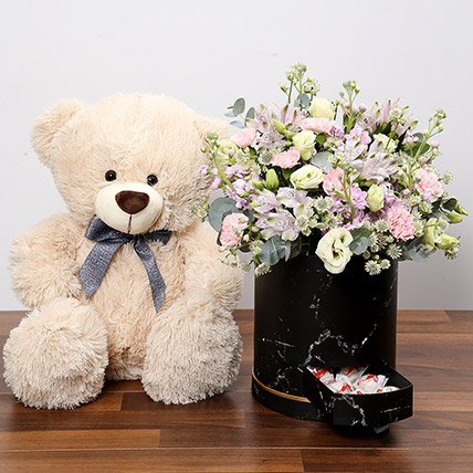 Pink and White Floral Box With Chocolates and Teddy: Stuffed Toys