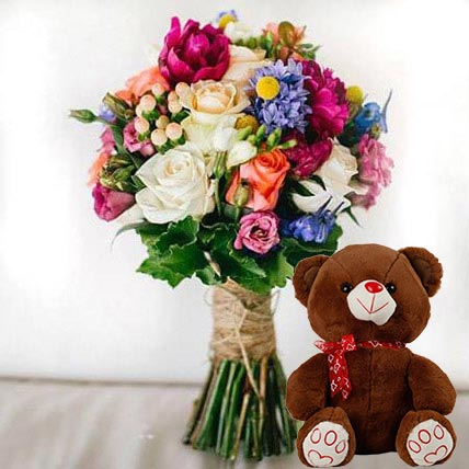 Ravishing Flowers and Brown Teddy Combo: Soft Toys