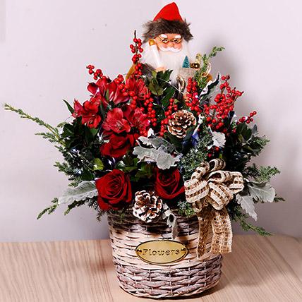 Santa With Flowers: Christmas Flower Arrangements