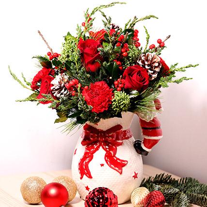 All Red Xmas Vase Arrangement: Christmas Flowers