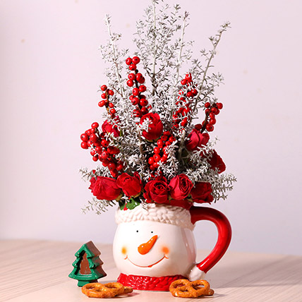 Ceramic Mug Flower Arrangement: Christmas Gifts