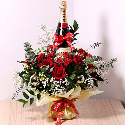 Flower Wrapped Champagne: Christmas Gifts