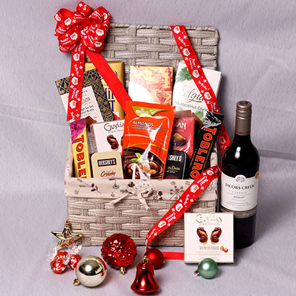 Jacobs Creek Wine And Snack Hamper: Flower Bouquet with Wine