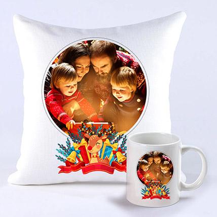 Personalised Joyful Holidays Cushion And Mug: XMas Personalised Gifts Singapore