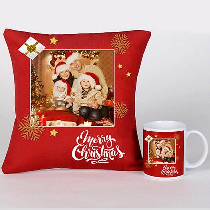 Personalised Xmas Greetings Cushion And Mug: