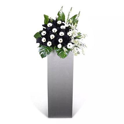 White Gerberas N Matthiola Flower Stand: Funeral Flowers
