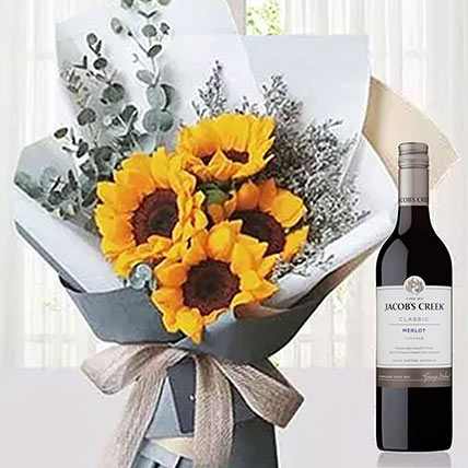 Sunflowers Bouquet With Du Marquis Wine: Flower Bouquet with Wine