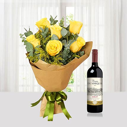 Yellow Roses Bouquet N Wine Combo: Flowers And Wine Delivery