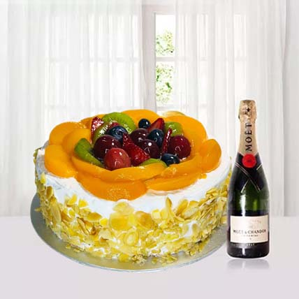 Cream Cake With Moet Champagne: Fathers Day Cake Singapore