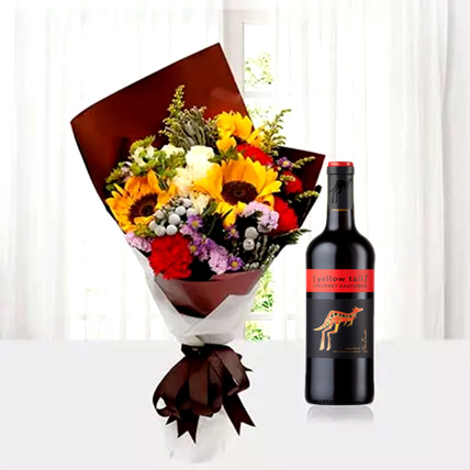 Mixed Flowers Bouquet With Red Wine: Flower Bouquet with Wine