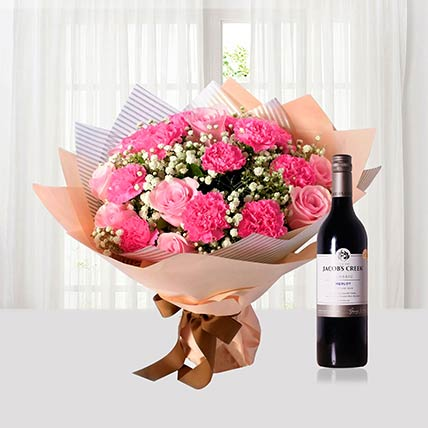 Pink Flowers Bouquet N Wine Combo: Flower Bouquet with Wine