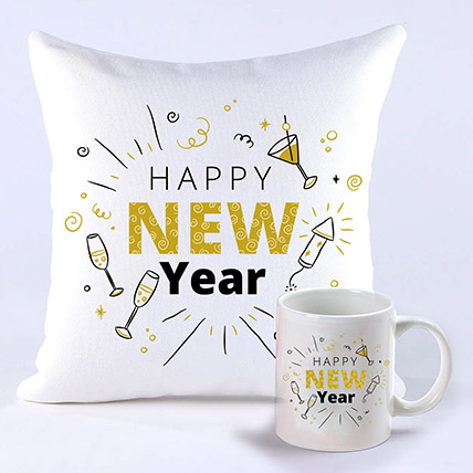 Happening New Year Greetings Mug And Cushion: New Year Gifts