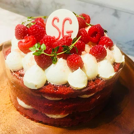 Red velvet Cake with Fresh Strawberry: Food Gifts Singapore