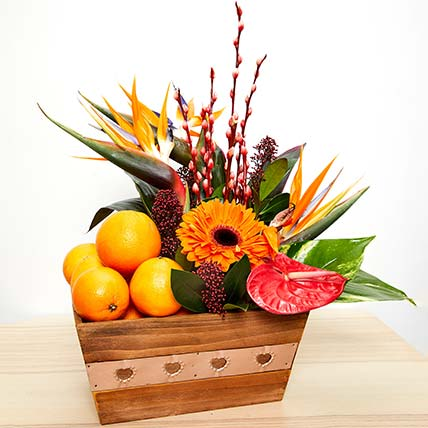 Flowers & Fruits Combo: CNY Flowers