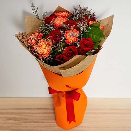 Graceful Roses & Carnations Bouquet: Chines New Year Flowers