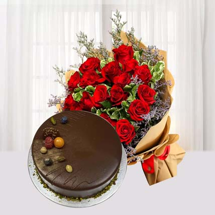 Red Roses and Red Velvet Cake Combo: Anniversary Gifts