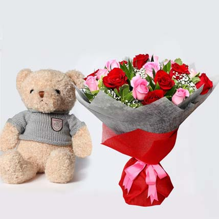 Luxurious Bouquet and Teddy Bear: Valentines Flowers