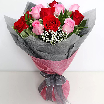 Pink and Red Roses Grand Bouquet: Promise Day Gifts