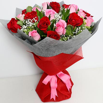 Pink and Red Luxurious Bouquet: Valentine's Day Flowers