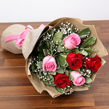 Pink and Red Roses Bouquet: Valentines Gifts