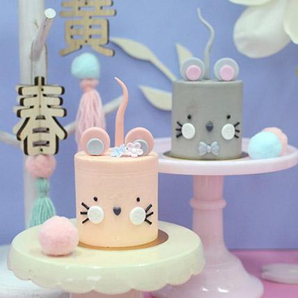 Pink & Grey Mini Cakes: CNY Cakes