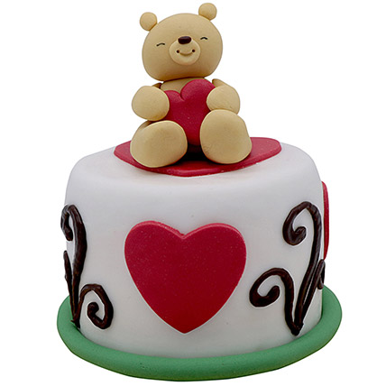 6 Inches Teddy Cake For Valentines Day: Valentines Day Cakes