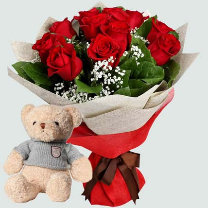 12 Red Roses with Brown Teddy Bear: Plush Toys and Flowers