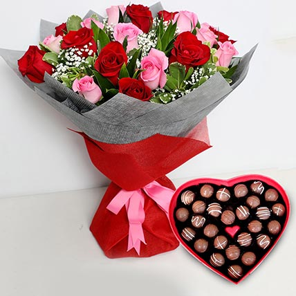 20 Dual Color Roses Bouquet with Heartshape Chocolates: Valentines Gifts