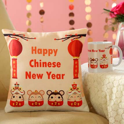 Year Of The Rat Mug And Cushion Combo: CNY Gifts Singapore