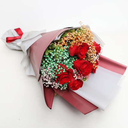 Roses and Baby Breath Bouquet: Valentine's Day Flowers