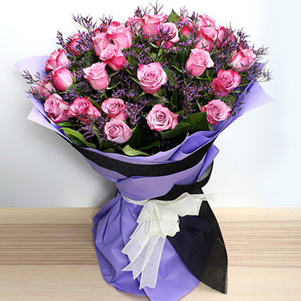 Dual Shade Purple Roses Bouquet: Women's Day Gifts