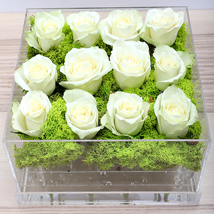 White Roses in Acrylic Base: Bloom Boxes