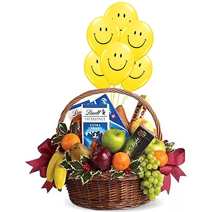 Fruitful Hamper With Smiley Balloons: Fruit Hampers