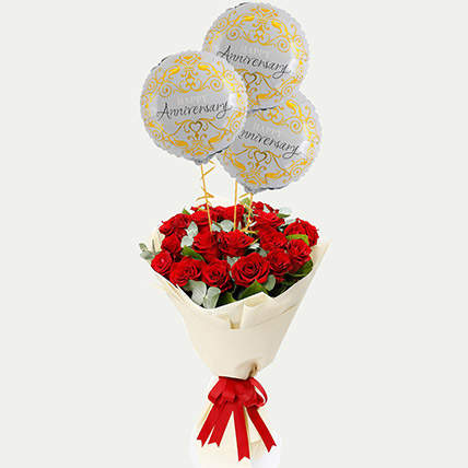 Red Roses Bouquet with Anniversary Balloons: Gift Combos