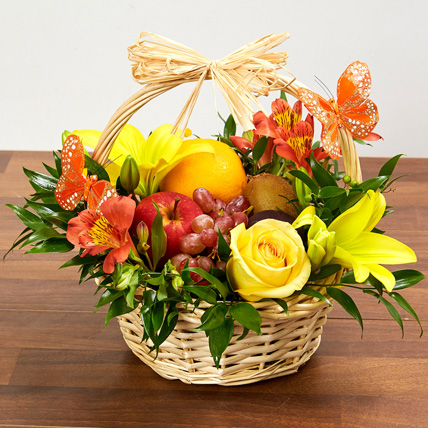 Basket Arrangement Of Fresh Flowers & Fruits: New Born Gifts