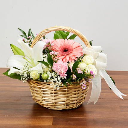 Basket Arrangement Of Gorgeous Flowers: New Baby Gifts