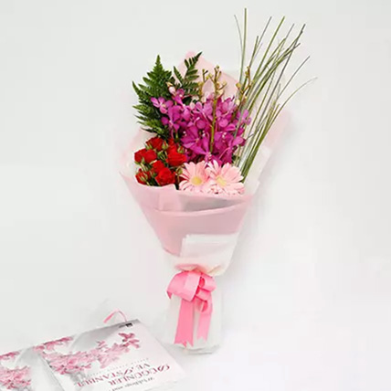 Beautiful Roses and Mokara Orchids Mixed Bouquet: Gerbera Flowers