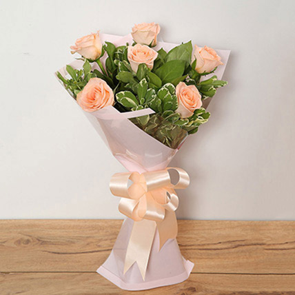 Bouquet Of Peach Roses: New Born Flowers