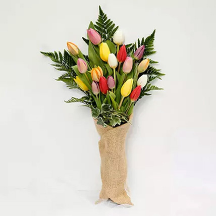 Jute Wrapped 20 Tulips Bouquet: Spring Blooms