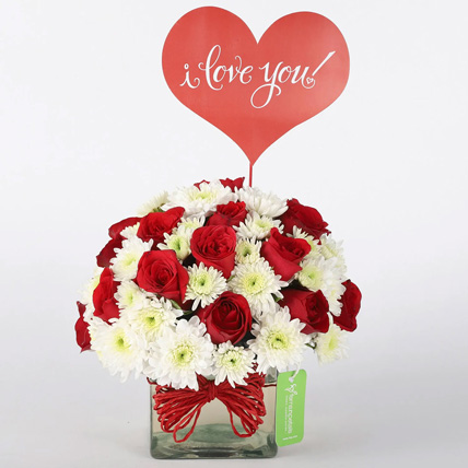Red Roses and White Daisies in Glass Vase: Propose Day Gifts