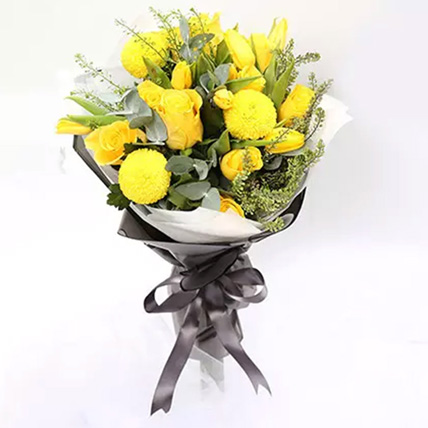 Summer Sunshine Bouquet Of Roses and Tulips: Teachers Day Flowers